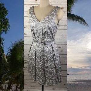 Closet Metallic Silver Damask Belted V-neck Dress